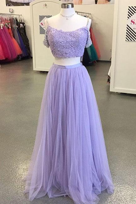 Light Purple Tulle Long Prom Dress,Two-Piece Lace Evening Dress,Off The Shoulder Prom Party Gowns