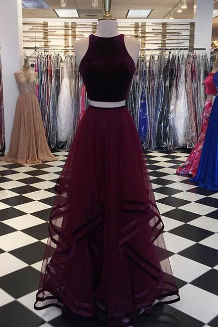 Simple Two-Piece Burgundy Long Tulle Prom Dress,A-Line Evening Gowns