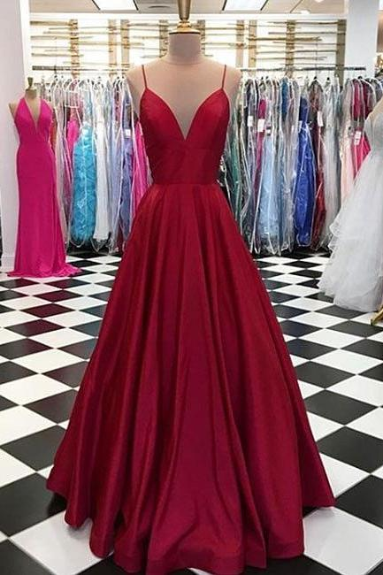 Simple Spaghetti Straps V-Neck Burgundy Prom Dress,Satin Formal Dress