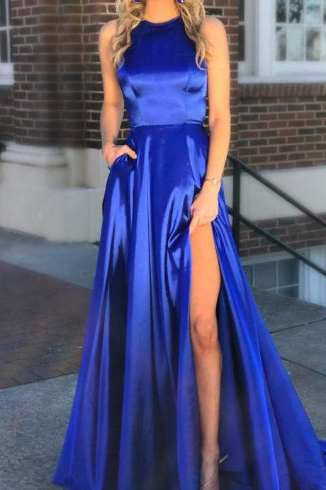 Royal Blue Halter Neck Satin Prom Dress with Pockets,Split Blue Evening Dress