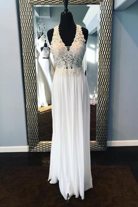 A-Line White Lace V-Neck Long Prom Dress,White Evening Dress