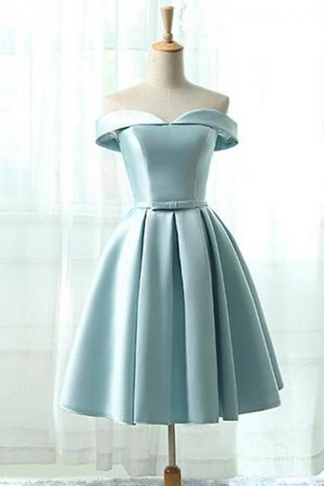 A-Line Sky Blue Homecoming Dress,Off The Shoulder Bridesmaid Dresses