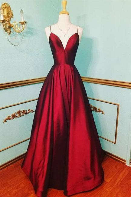 Sexy burgundy v-neck satin long prom dress,burgundy evening dress