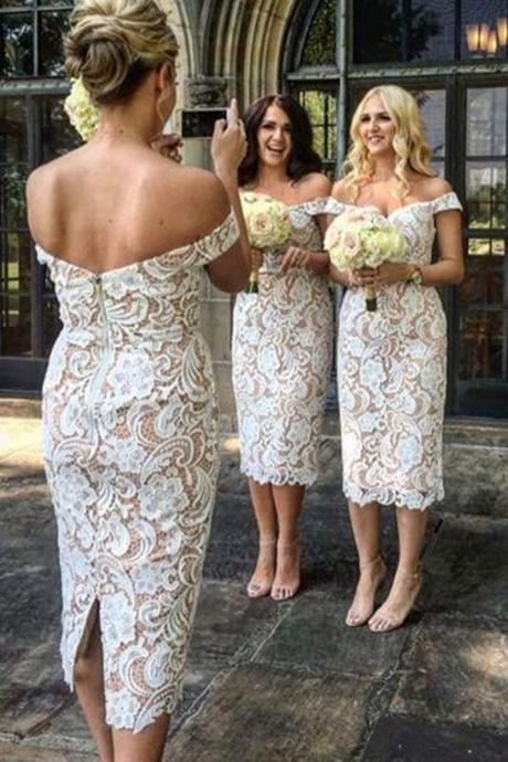Elegant Off The Shoulder Sheath Bridesmaid Dress,Tea Length White Lace Wedding Bridesmaid Dress