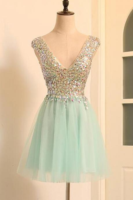 Mint tulle v-neck beaded short prom dress for teens,tulle party dress