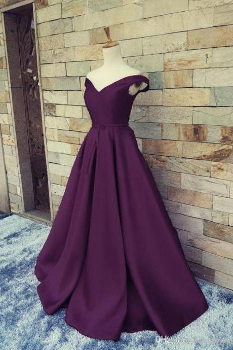 Gorgeous Off Shoulder V-neckline Purple Prom Dress,Long Junior Prom Gowns