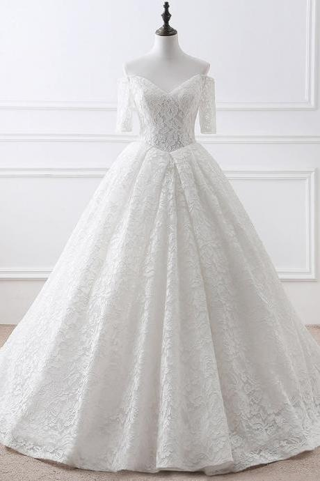 White V-Neck Lace Ball Gowns,Half Sleeves Lace Wedding Dress