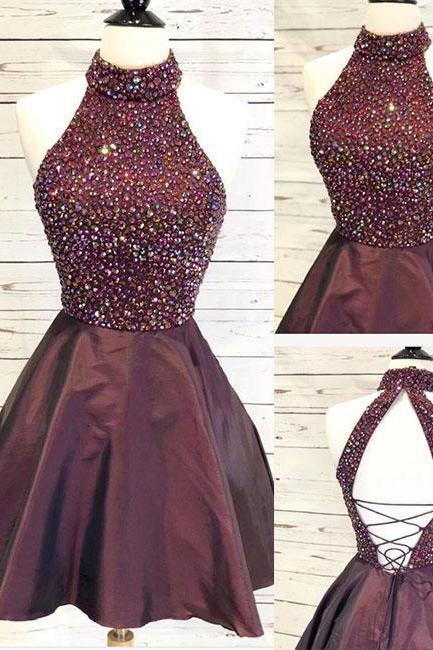 2018 Burgudny Beaded Crystals Short Homecoming Dresses A-Line Cute Cheap Party Dresses