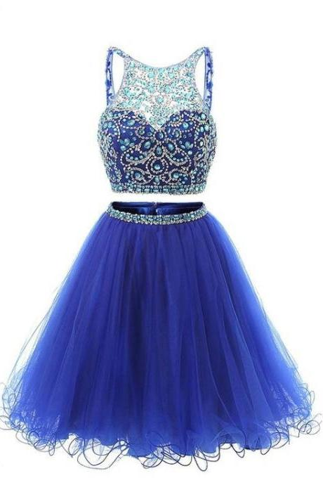 Beaded Tulle Homecoming Dress,Royal Blue Homecoming Dresses,Two Pieces Cocktail Dresses
