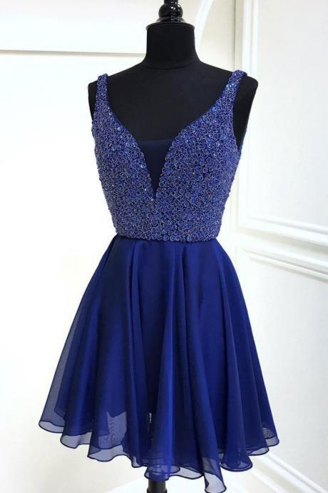 Blue V-Neck Beaded Bodice Party Dress,Chiffon Homecoming Dress