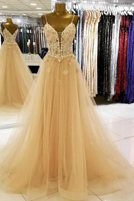 Champagne v-neck applique tulle long prom dress,lace evening dress