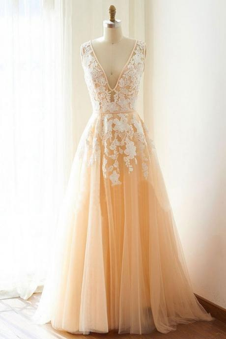 Champagne V-Neck Applique Tulle Prom Dress,Long White Lace Evening Dress