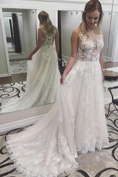 2019 Ivory Lace Round Neck Wedding Dress,Sleeveless Prom Dress with Court Train