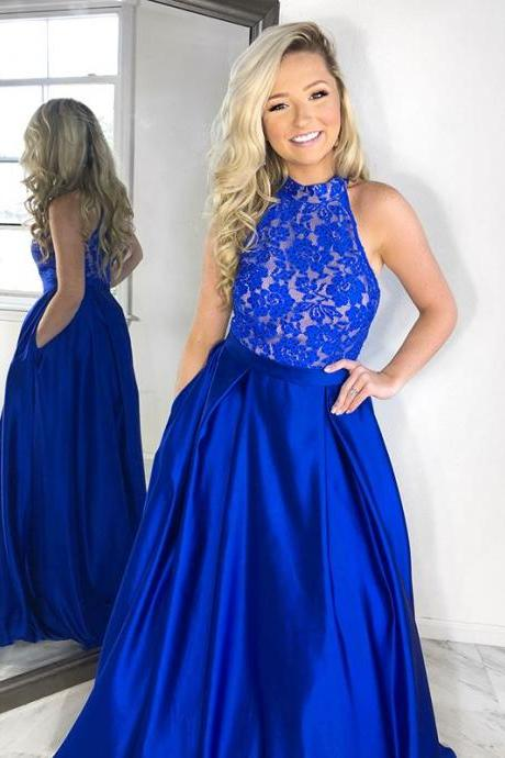 Stunning Royal Blue Lace Top Evening Gown,Long High Neck Prom Dress
