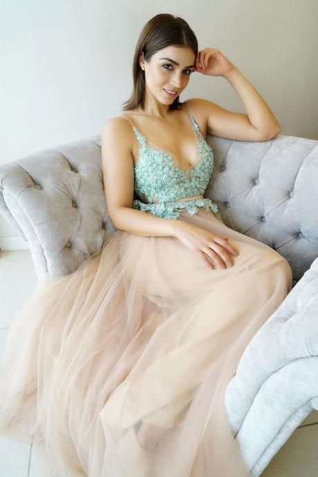 Unique Champagne Tulle Prom Dress with Lace Bodice,Deep V-Neck Lace Evening Dress