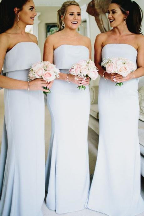 Elegant Strapless Light Blue Mermaid Long Bridesmaid Dress with Bow
