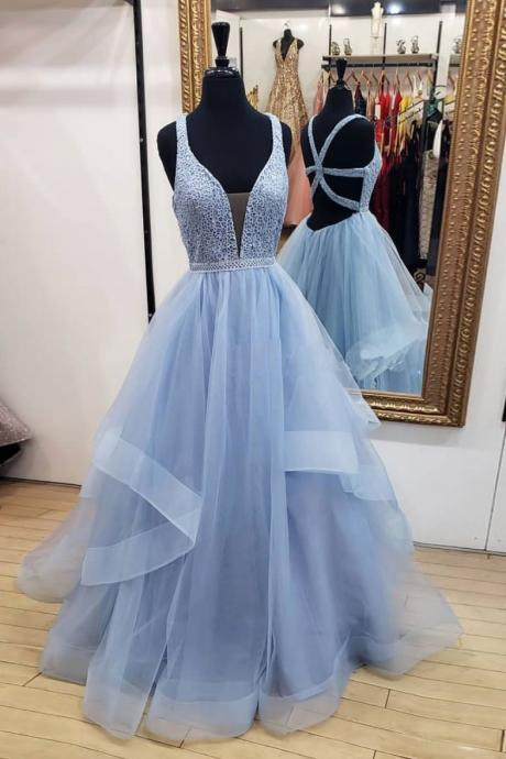 Sexy Blue V-Neck Lace Prom Dress with Cross Back,Sleeveless Tulle Evening Dress