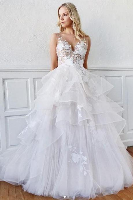 White v neck lace long prom dress,sexy white evening dress,charming bridal dress