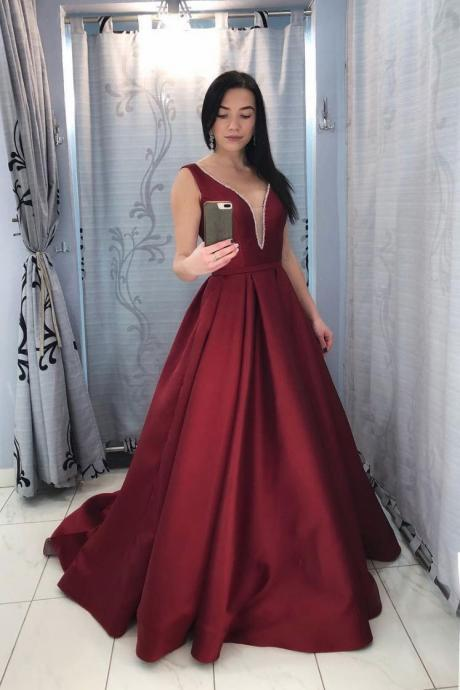 Burgundy V-Neck Long Prom Dress,Open Back Sweep Train Wine Red Evening Dress