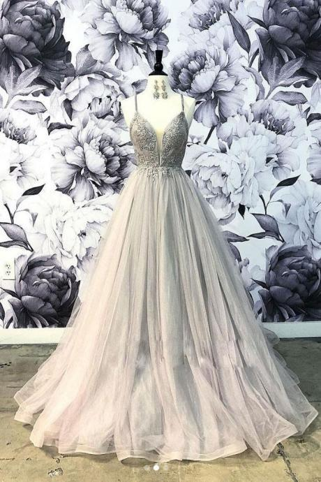 Elegant Spaghetti Straps Grey Tulle Prom Dress with Lace,Applique Formal Dress,Long Sweetheart Evening Dress