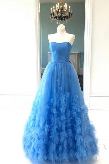Gorgeous Strapless Tulle Formal Gowns,Long Prom Dress