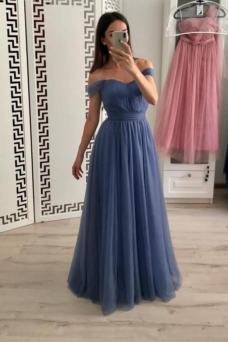 Simple Dusty Blue Tulle Off Shoulder Prom Dress,Sweetheart A-Line Bridesmaid dress,Evening Dress
