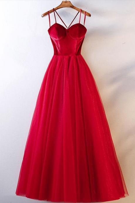 Red Sweetheart A-Line Tulle Prom Dress,Charming Spaghetti Straps Formal Dress,Ball Gowns