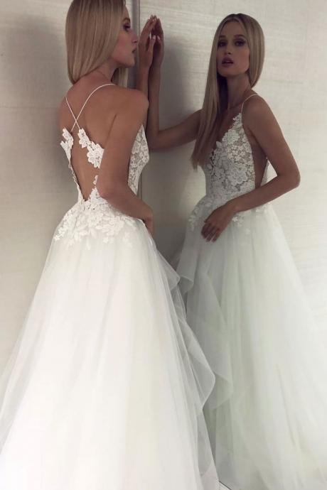 Charming White V-Neck Lace Wedding Dress,Tulle Prom Dress,White Evening Dress