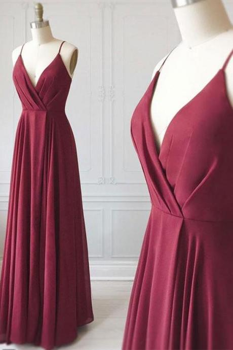 Burgundy chiffon v neck long prom dresses,Burgundy evening dress,bridesmaid dress