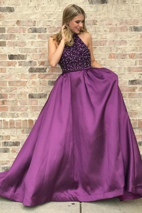 Elegant Halter Beaded Bodice Purple Long Prom Dress,Satin Party Dress