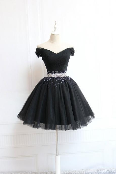 Simple black tulle off shoulder short prom dress,beaded homecoming dress