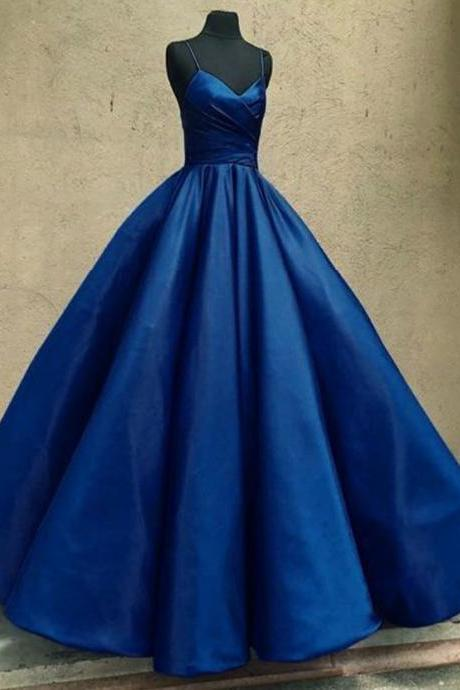 Beautiful V-Neck Blue Prom Dress,Spaghetti Strap Ruched Ball Gown Prom Dress