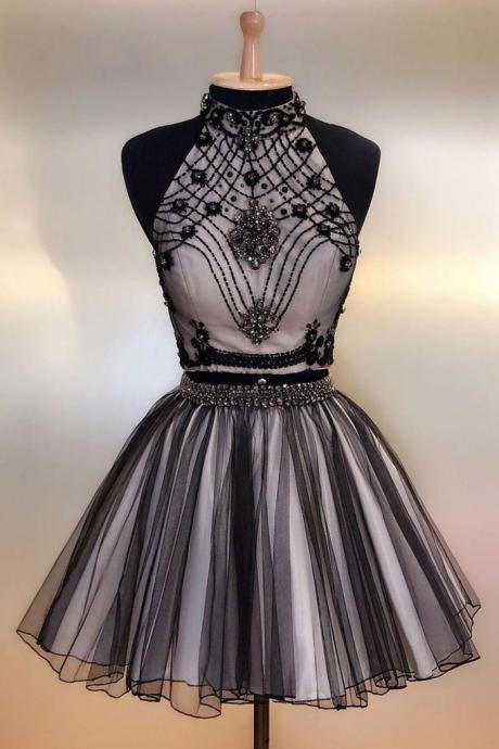 Black Two Pieces Beads High Neck Homecoming Dress,Tulle Short Prom Dress,Evening Dress