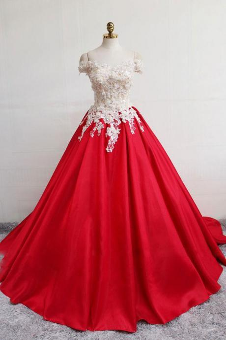 Red Off Shoulder Lace Long Ball Gowns,Red Lace Up Formal Prom Dress with Sweep Train
