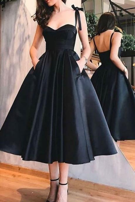Simple sweetheart satin black prom dress, black homecoming dress