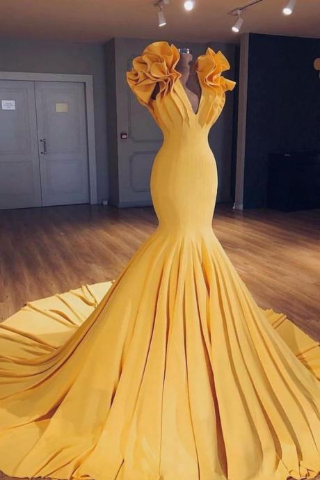 Gorgeous Yellow V Neckline Mermaid Formal Prom Dress,Sweep Train Yellow Evening Dress