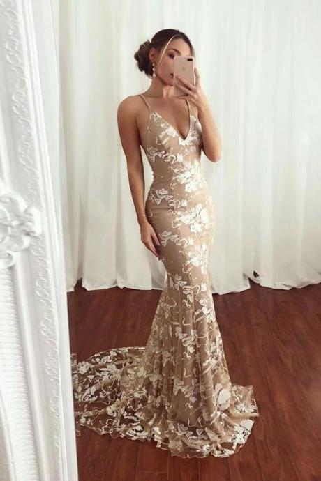 Sexy mermaid v neck lace long prom dress,backless champagne evening dress