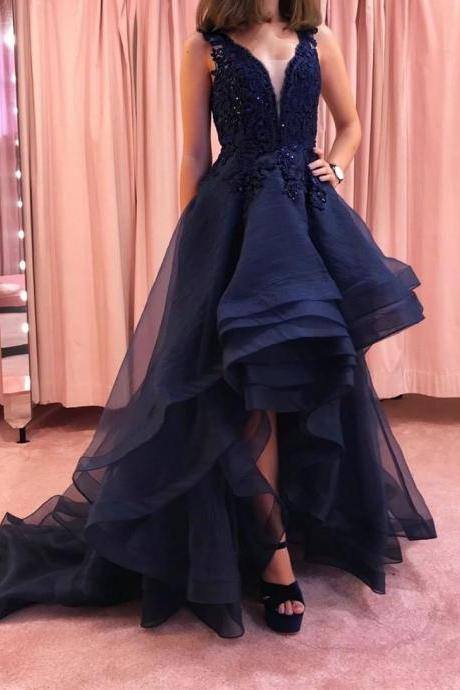 Dark blue v neck lace beaded high low prom dress,evening dress,party dress