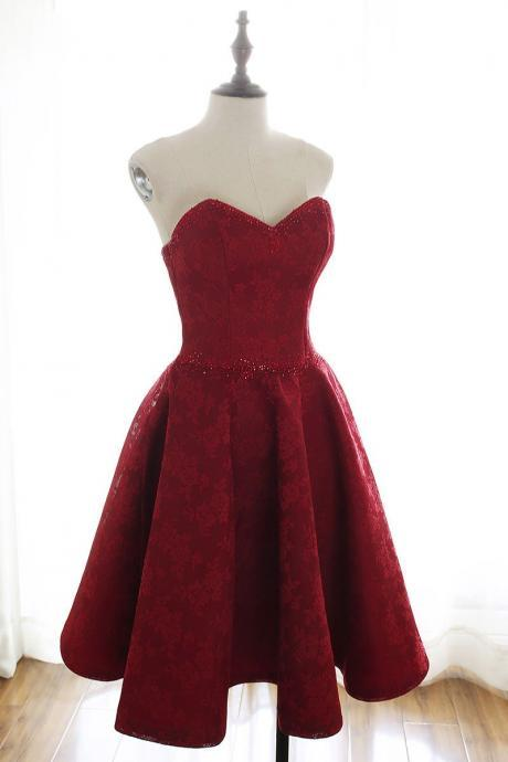 Burgundy Sweetheart Lace Homecoming Dress,Strapless Short Prom Dress,Party Dress