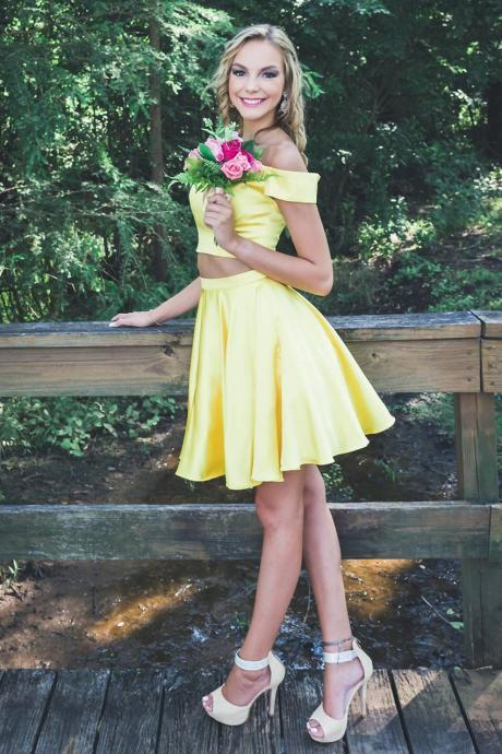 Simple Two Piece Off Shoulder Yellow Satin Homecoming Dress