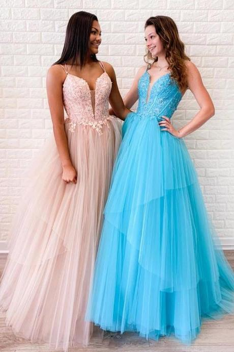 Stylish v neck tulle lace long prom dress evening dress formal dress