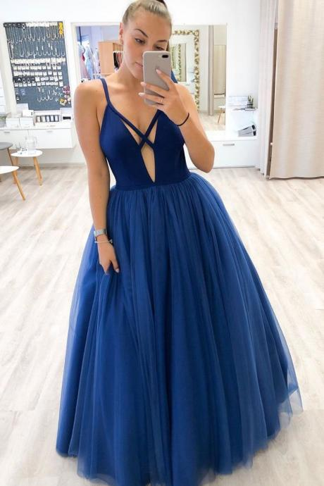 Simple Blue Deep V Neck Tulle Prom Dress Formal Dress Evening Dress