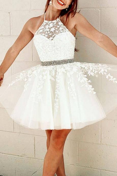 Cute Yellow/White Halter Lace Appliqued Homecoming Dress,A Line Homecoming Dress,Graduation Dress