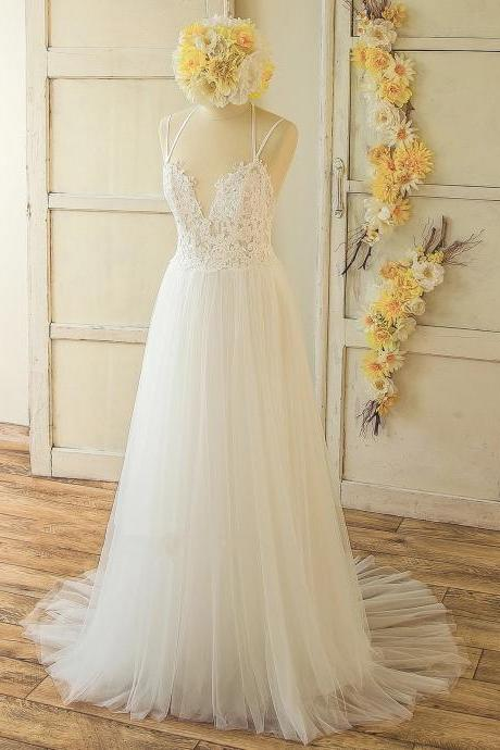 Simple Boho Ivroy Lace Wedding Dress with Criss Cross Straps,Tulle Prom Dress,Backless Evening Dress