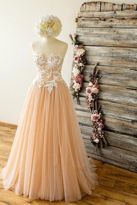 Strapless Nude Wedding Dress with Lace Top,Sweetheart Tulle A Line Prom Dress