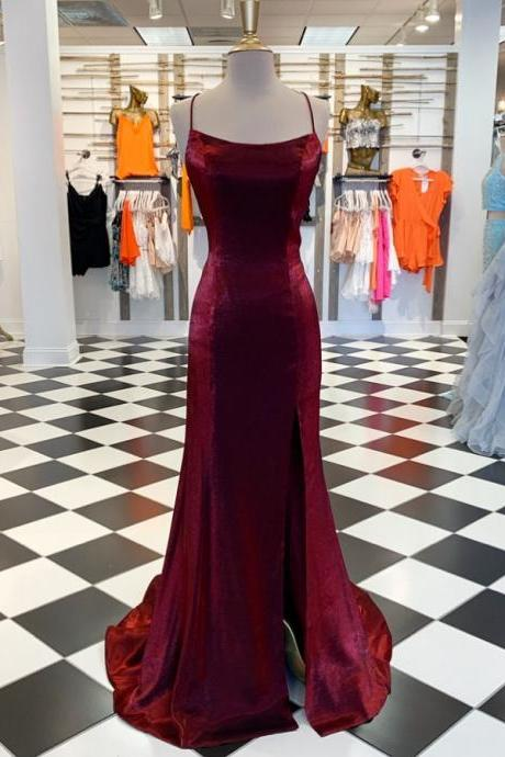 Elegant Mermaid Burgundy Formal Dress,Simple Prom Dress with Lace up Back