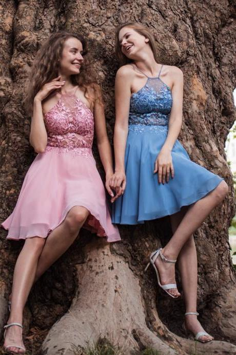 Cute Halter Lace Appliue Homecoming Dress,Chiffon Party Dress,Short Prom Dress