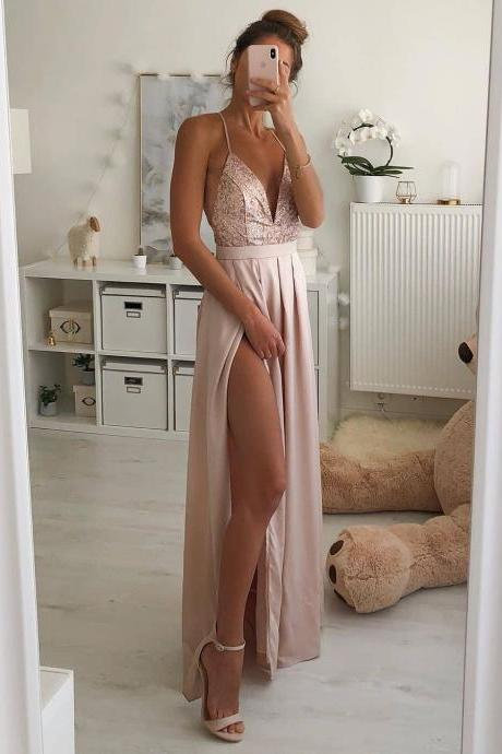 Pink V Neck Glitter Long Prom Dress with Criss Cross Back,Split Side Evening Dress,Maxi Dress