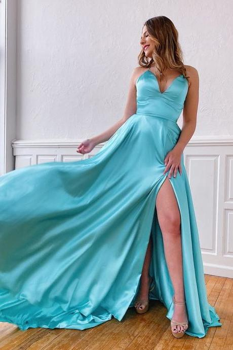 Elegant V Neck Blue Split Side Satin Prom Dress Open Back Evening Dress 2020 Party Dress