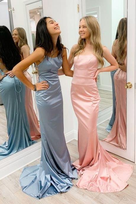 Simple Mermaid Satin Light blue/Pink Long Prom Dress with Lace Up Back Evening Dress Pretty Party Dress